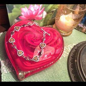 Jewelry - Garnet Sterling Silver Heart Bracelet